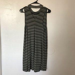 Ginger G Dresses - Green, White, and Black striped high cut dress